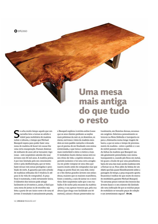 Pressebericht im Luxusmagazin Epicur, Michael Beaupoil exklusive Holztische aus alten Kauri Holz