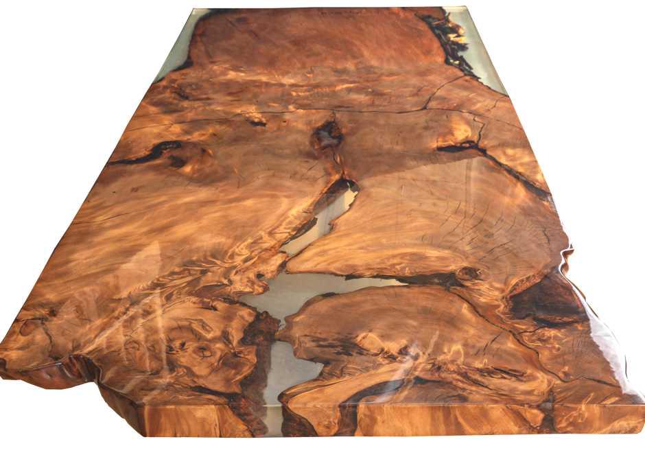 Designer Esstisch, luxuriöses Natur Kunstwerk Unikat Tisch aus Kauri Wurzelholz, schöner Unikat Holztisch Luxus Esstisch Gold, einzigartige Naturholz Wurzeltischplatte