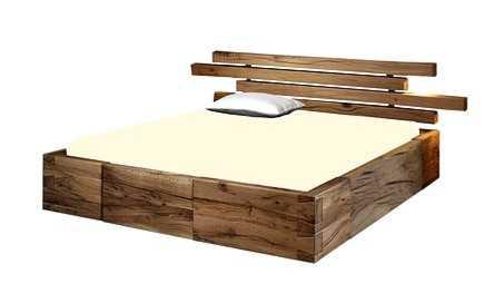 Natürliches Massivholzbett aus Natur Eiche, unvergleichliches Holzbett