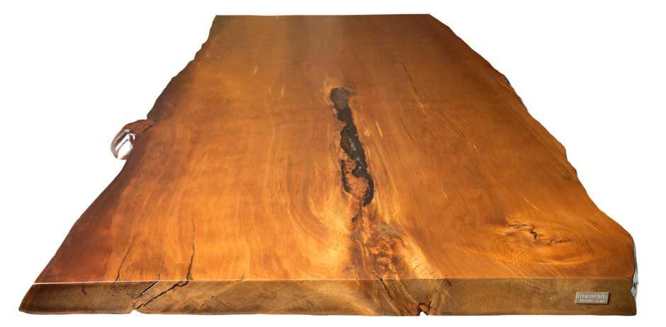 Natur Kauri Holztisch mit Glasfüßen, Esstisch mit massiver Tischplatte mit organischen Naturkanten, faszinierendes Naturholz, einmaliger Esstisch