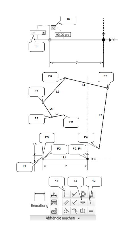 Ausrichten und Korrigieren schräger Konturen im  Inventor- Skizzenbereich