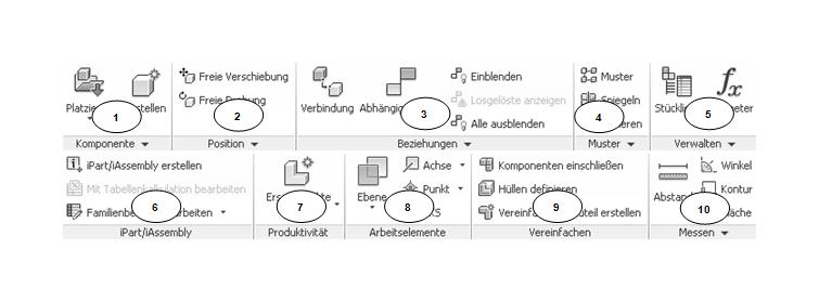 Die Inventor Befehle im Baugruppenbereich