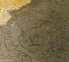 Detail: Wappen des Kaspar Henggeler auf dem Becher von Arth