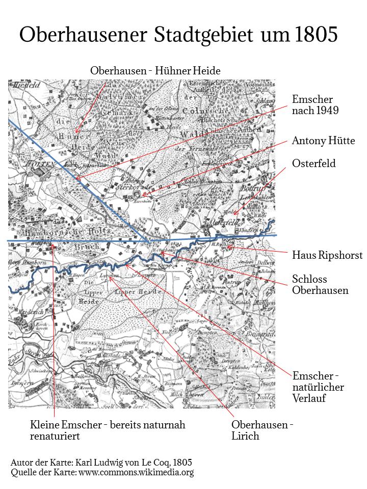 Le Coq Karte von 1805. Die drei Emscher Verläufe in der Übersicht.