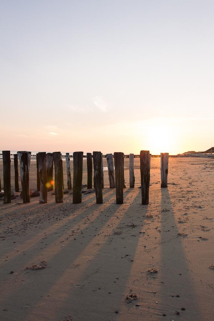 Zoutelande, Strand, Wasser, Holland Nordsee, Holzpfähle, Sonnenuntergang, Sand, Himmel