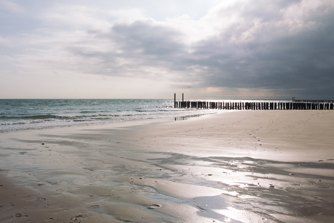 Zoutelande, Strand, Ebbe, Holzpfähle, Sand