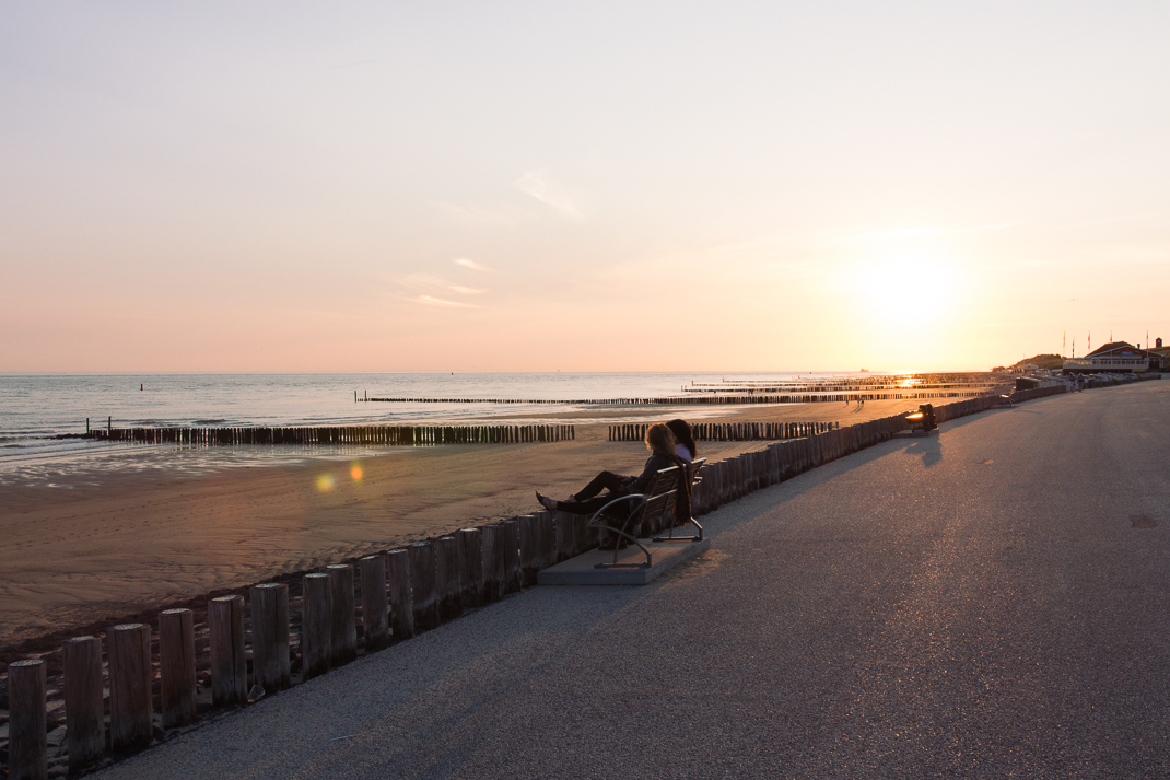 Zoutelande, Strand, Sand Wasser, Holland, Nordsee, Bank, Sonnenuntergang