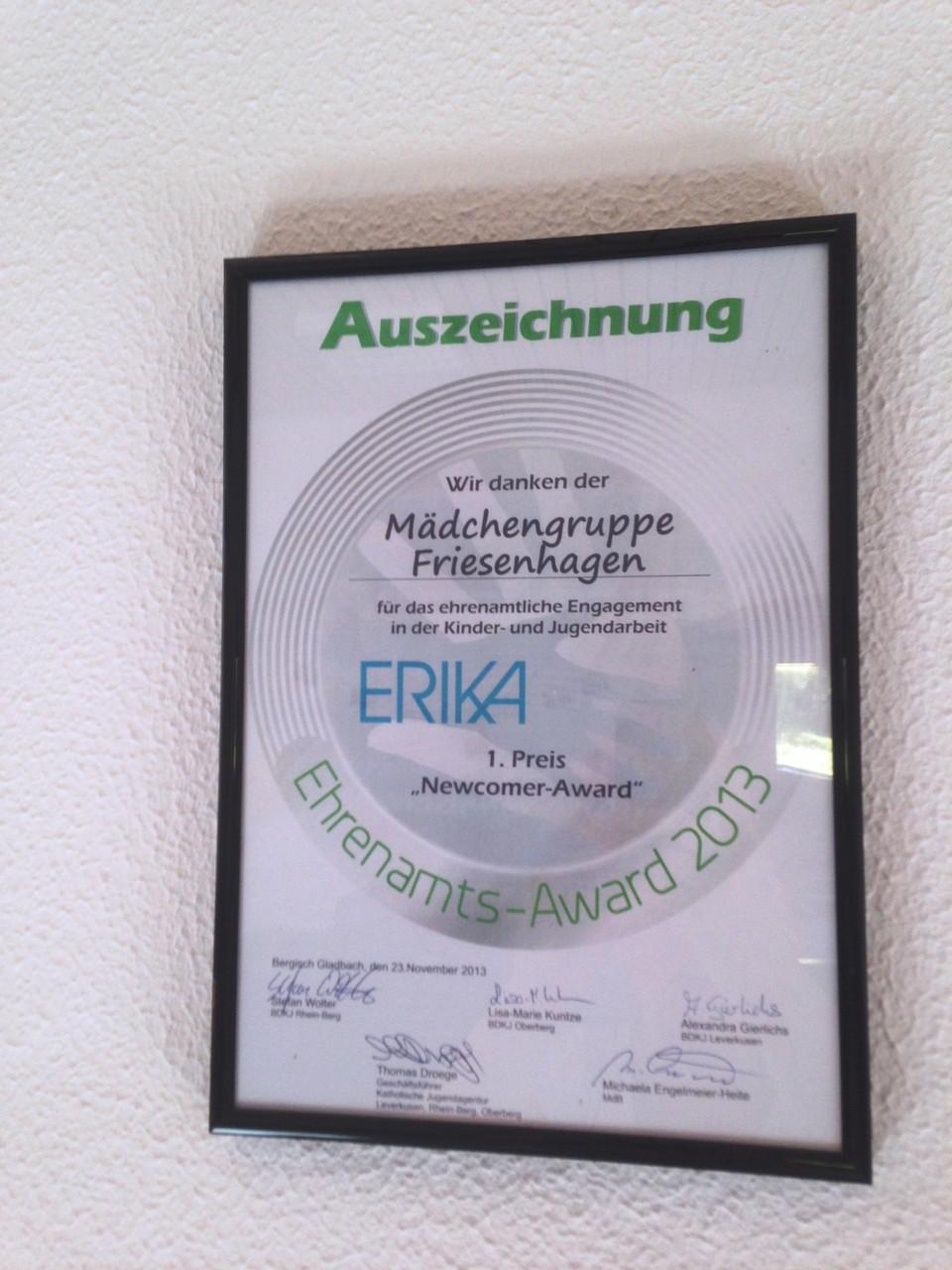 Und hier die Auszeichung für den Erika-Award