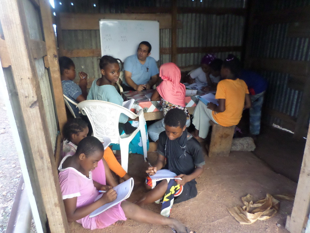 Academic assistance to kids in a banga