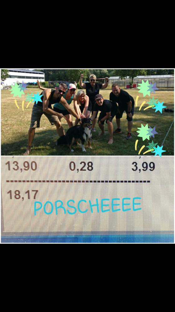 """😂🎉- der Wahnsinn 3,99 sec. benötigte Porsche für die Flyballbahn in Frankreich! Unser Team """"Flaming 4"""" freut mich mit uns😘!"""