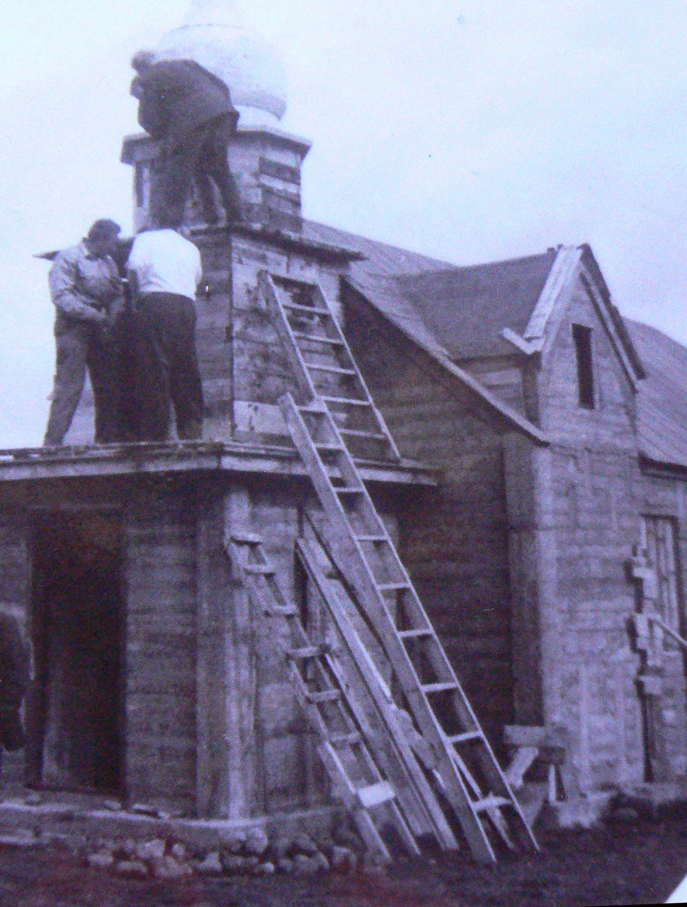 Work in progress on the church tower 1968.