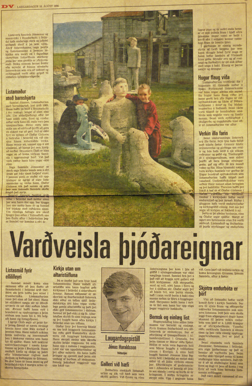 Article in DV 30.8.1996 by Jónas Haraldsson
