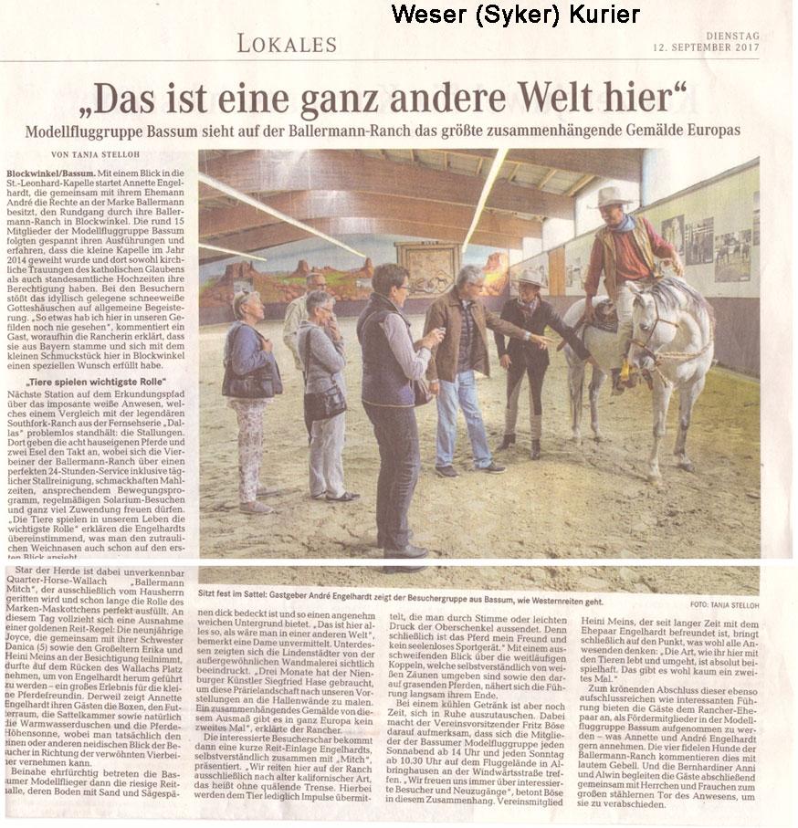 Weser Kurier (Syker Kurier), 12.09.2017, Autor: Tanja Stelloh - Ballermann Ranch