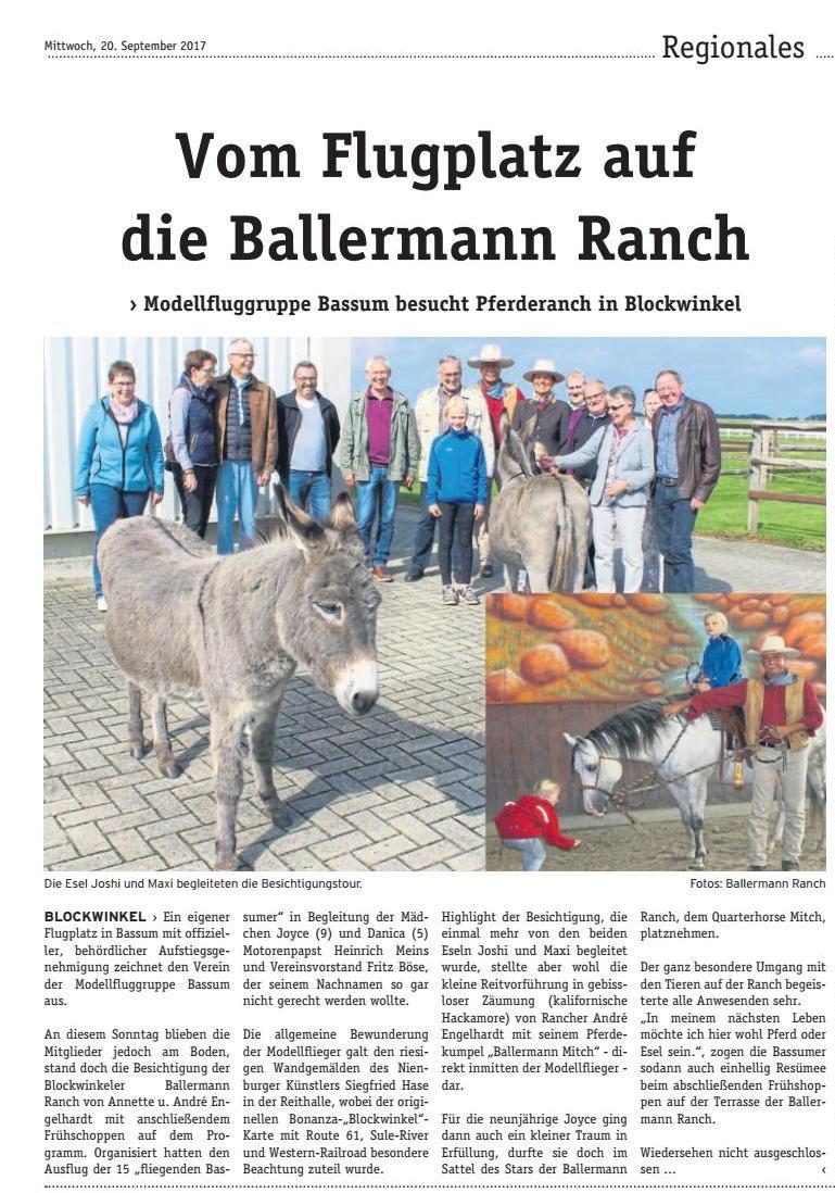 DIE WOCHENPOST - LK Diepholz, 20.09.2017 - Ballermann Ranch