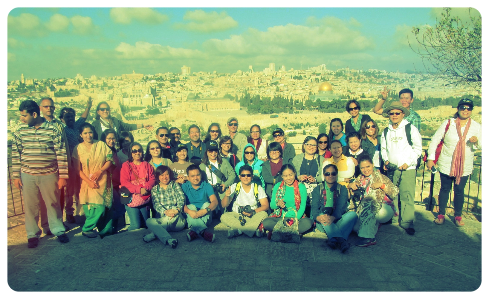 With the Filipino tourists on Mt. of Olives, 2014