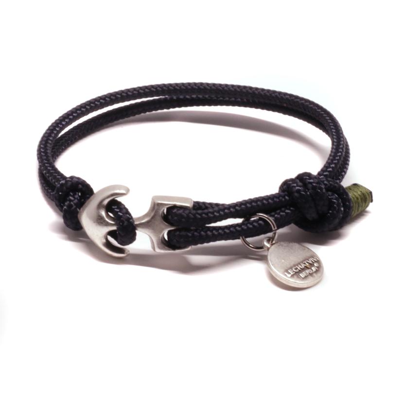 Armband Segeltau Schwarz maritim mit Ankerverschluss versilbert