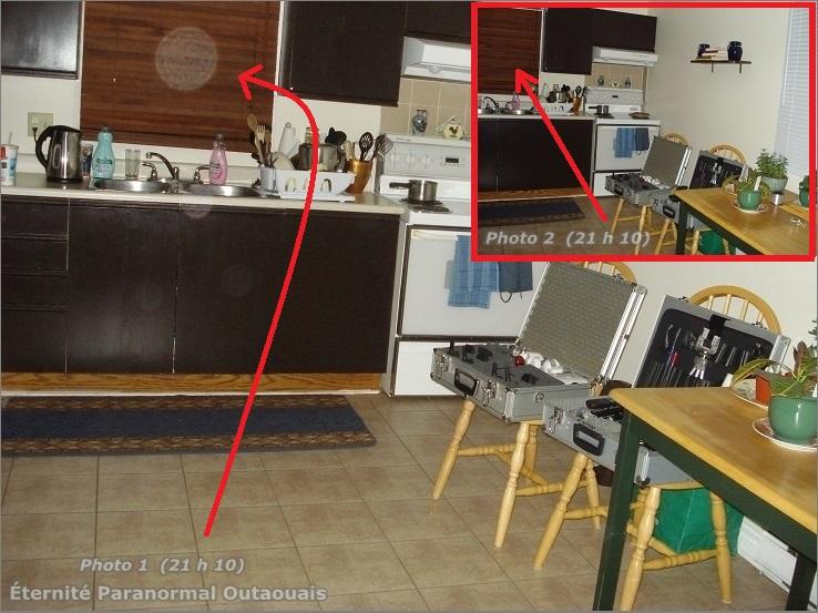 Cliché « 1 » la présence d'un orbe dans la cuisine! Deuxième cliché, l'orbe n'est plus là!