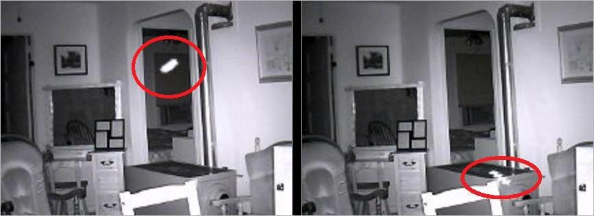 Photo d'un orbe prise par une caméra de sécurité.