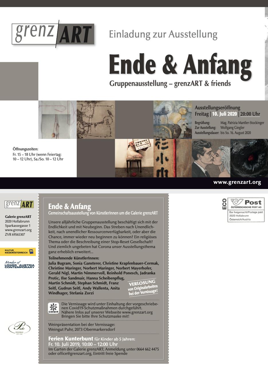Einladung zur Ausstellung Ende & Anfang Gruppenausstellung – grenzART & friends