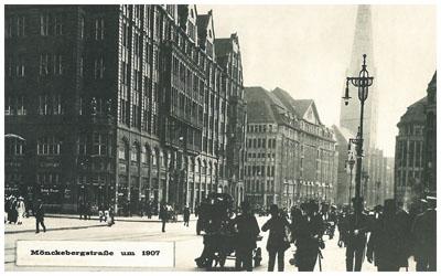 """Mönckebergstraße 11 mit dem """"Rappolthaus"""" links im Vordergrund und der dahinterliegenden """"Hanse"""", Mönckebergstraße 15-19"""