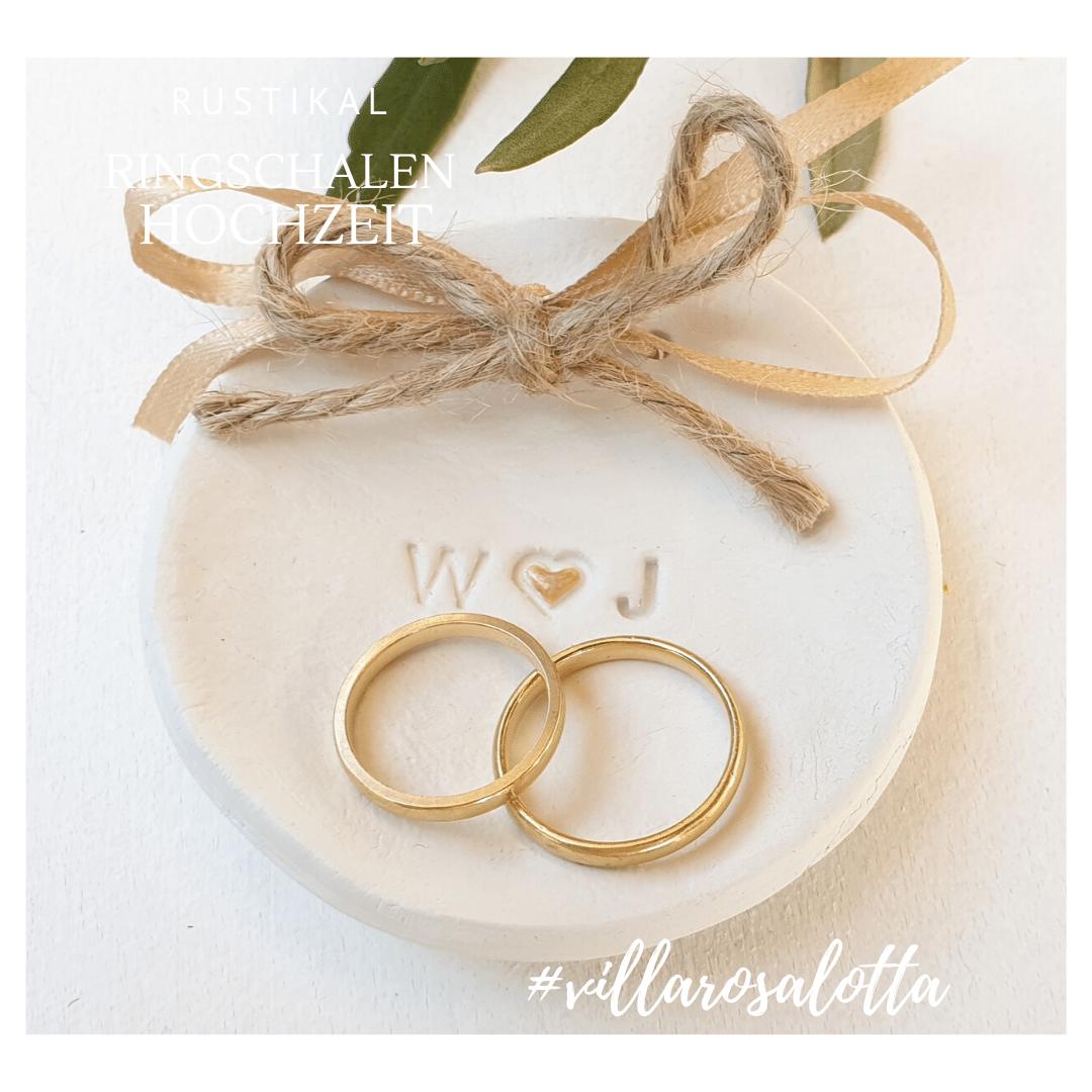 Ringkissen Ringhalter Hochzeit rustikal vintage personalisiert Ringschalen Ringteller Initialen keramik ton