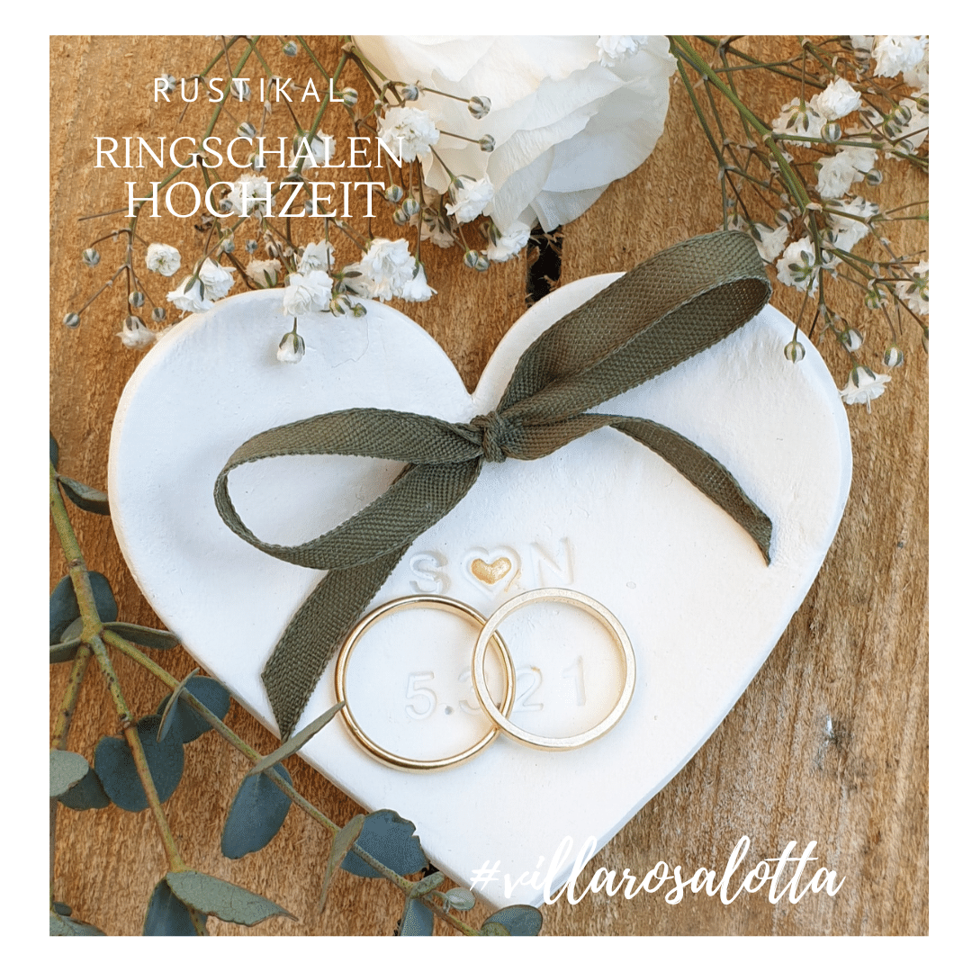 Ringkissen Ringhalter Hochzeit rustikal vintage personalisiert Herz Ringschalen Ringteller Initialen keramik ton