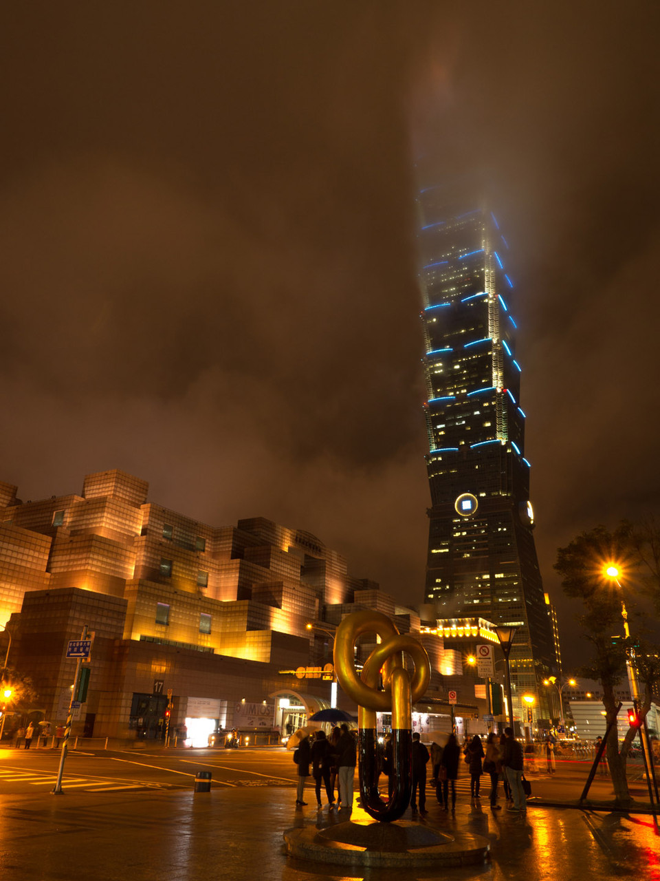 Taipei101 tower during a cloudy night