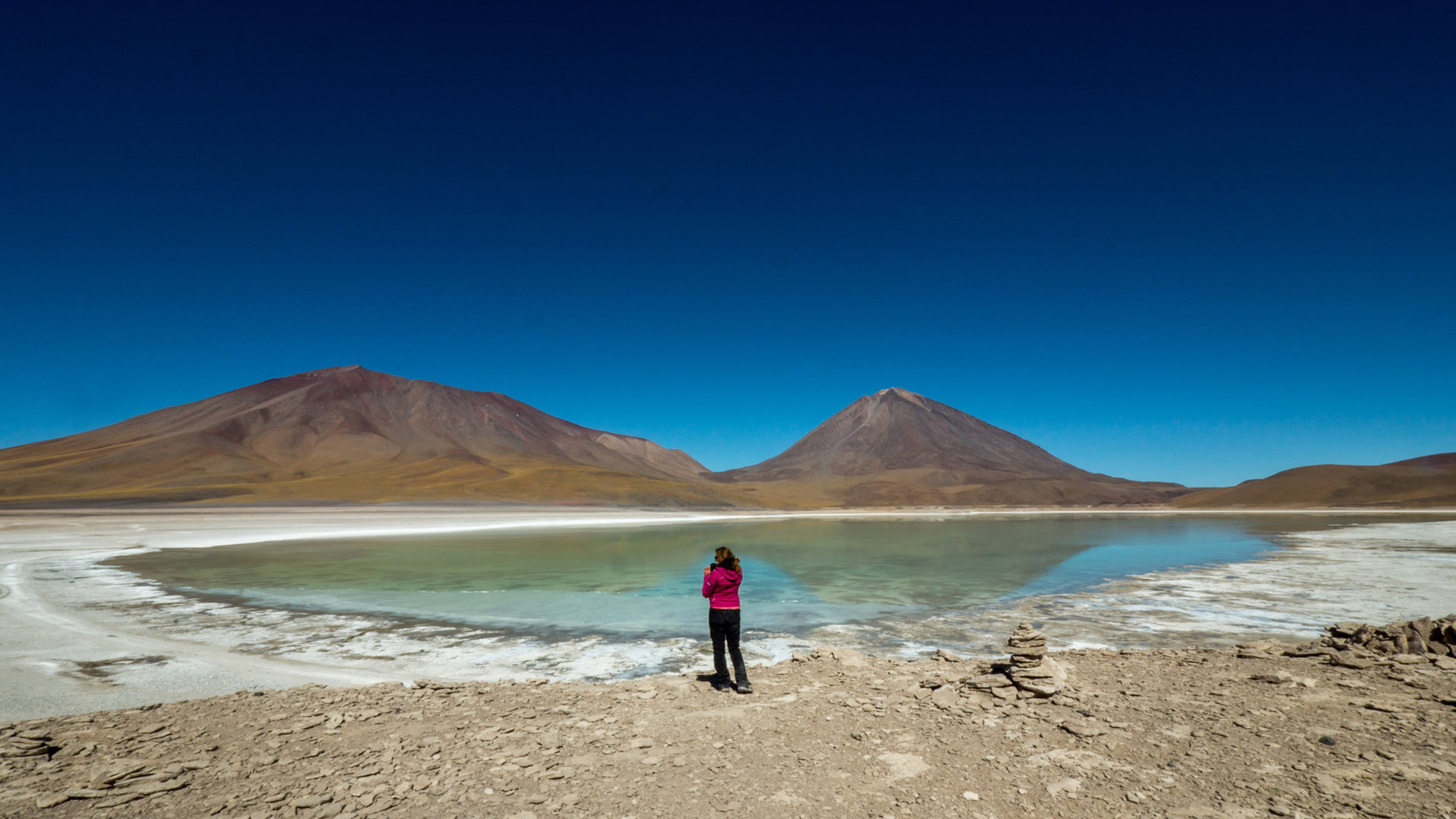 Laguna Verde (Green lagoon), Volcano Licancabur in the background [Bolivia, 2014]