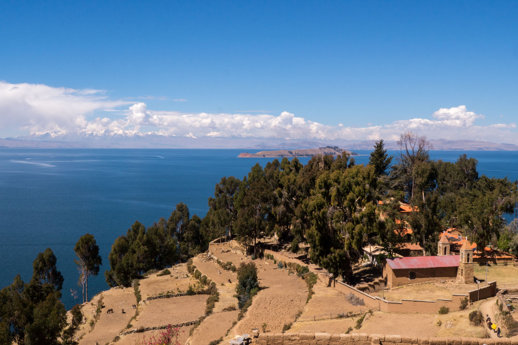 Isla del sol (Sun island), church of Yumani, Lake Titicaca (Andes in the background)