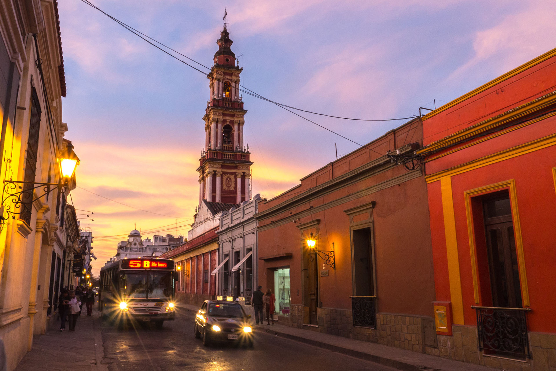 San Francisco Church, Salta, during dusk (blue hour), Argentina