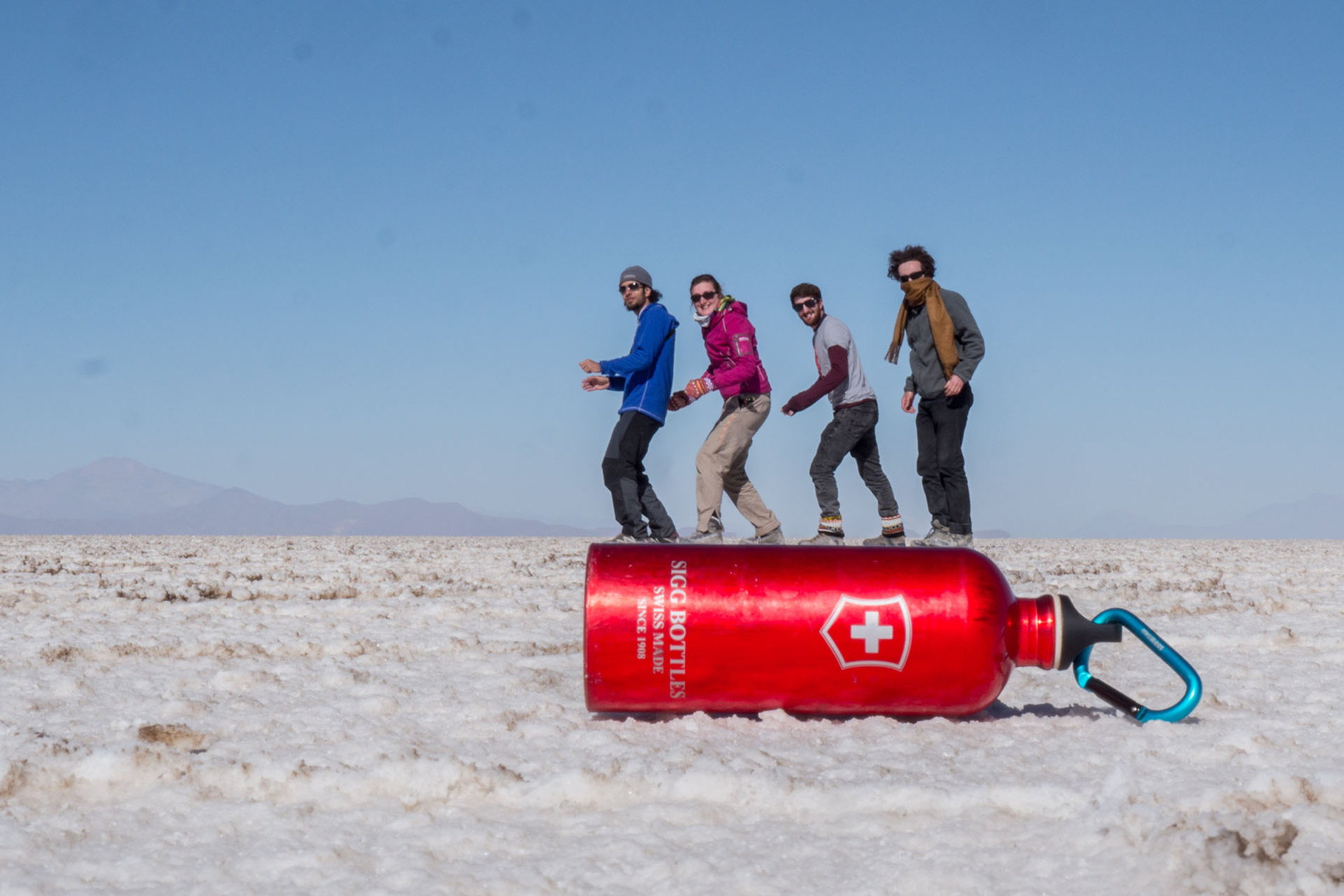 Typical tourist picture at Salar de Uyuni
