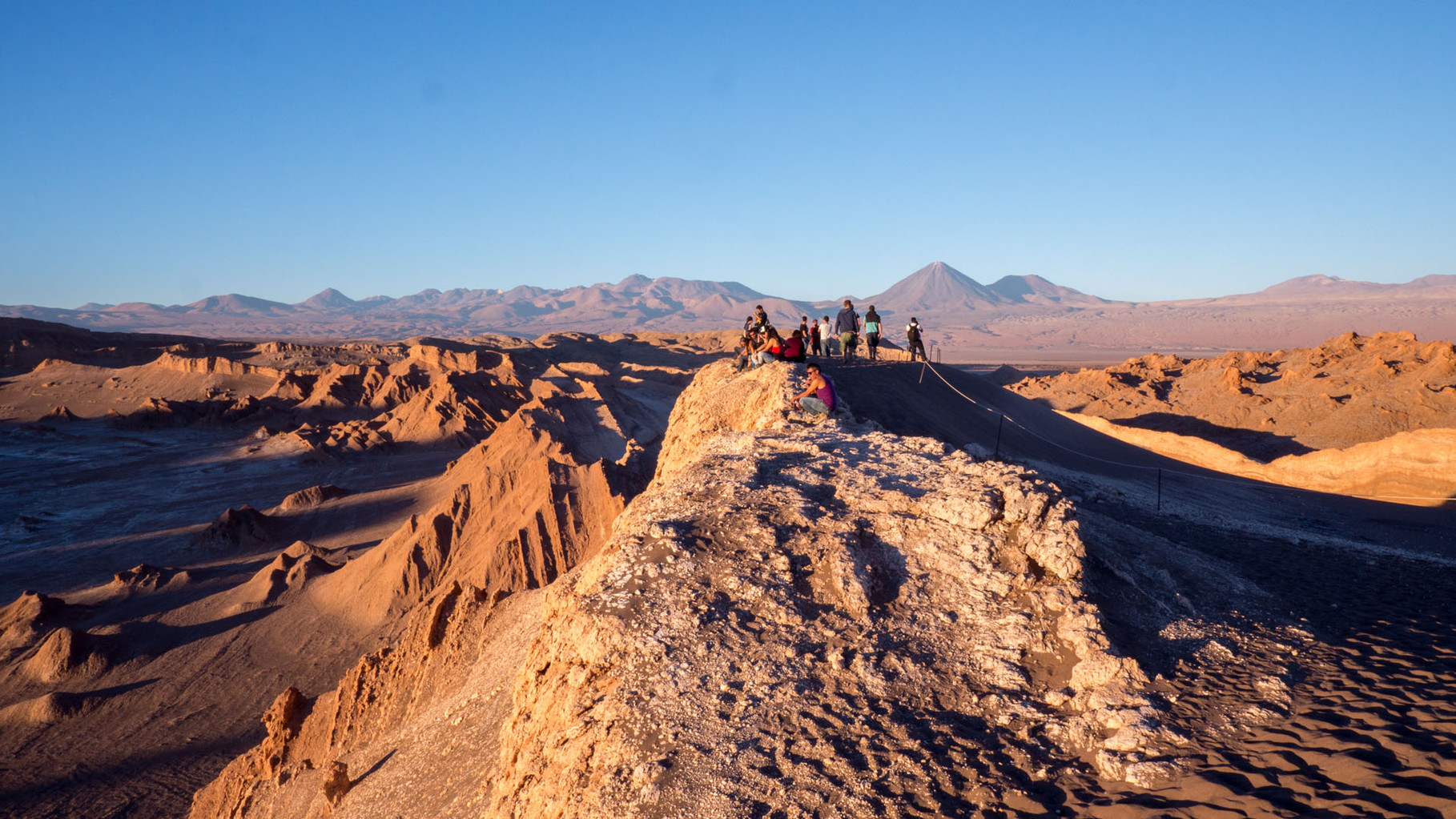 View from Duna Mayor (Big Dune) at sunset, Andes in the background ), near San Pedro de Atacama, Chile