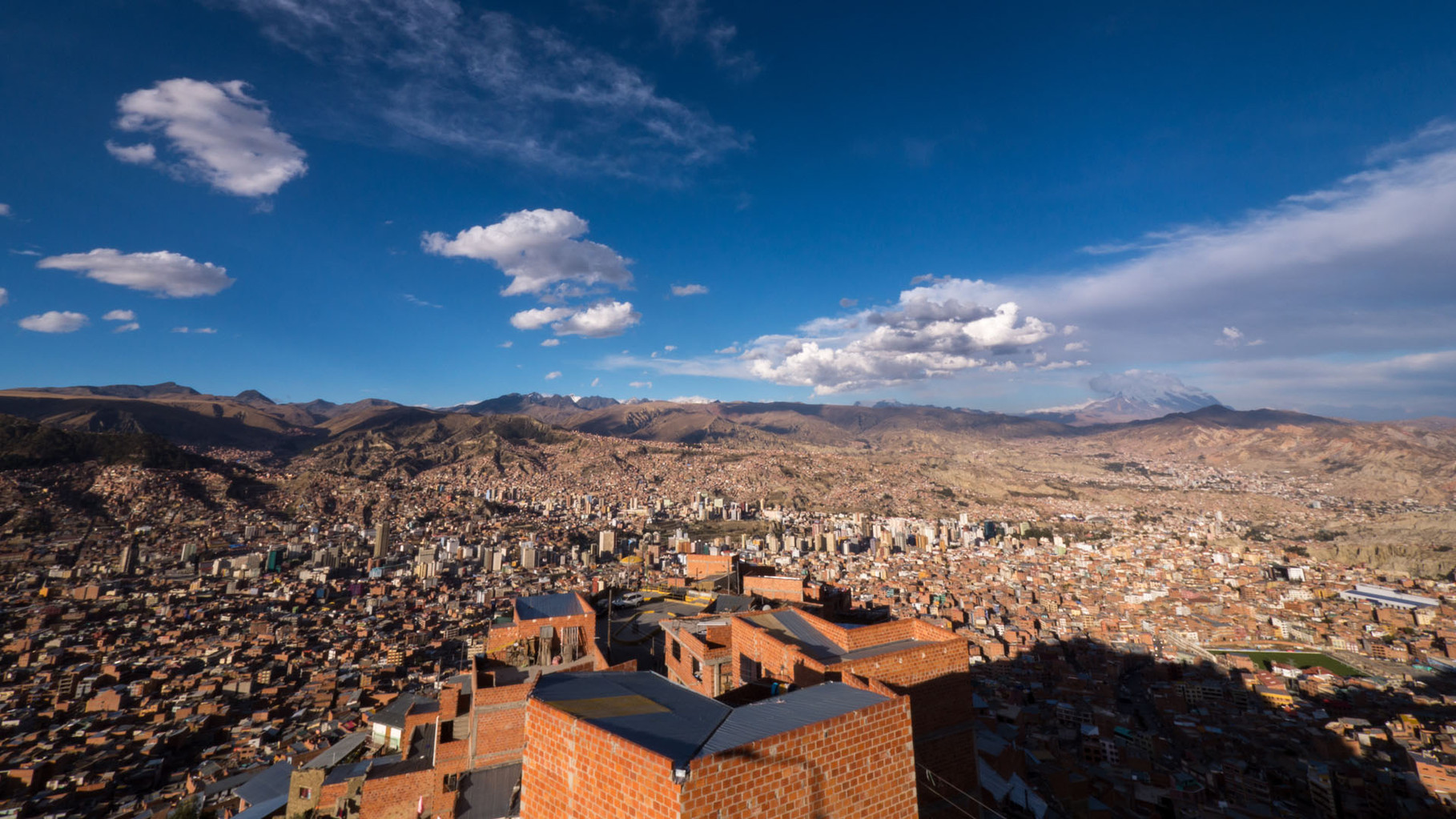 La Paz, mount Illimani looming in the background