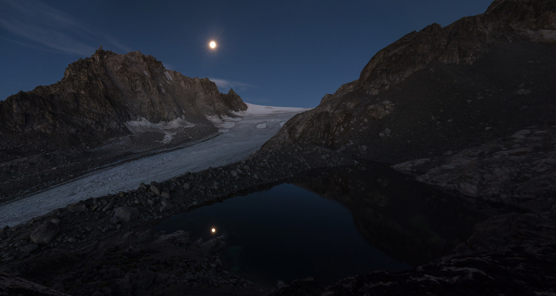 Full moon at Glacier d'Orny, view from SAC hut Cabane d'Orny