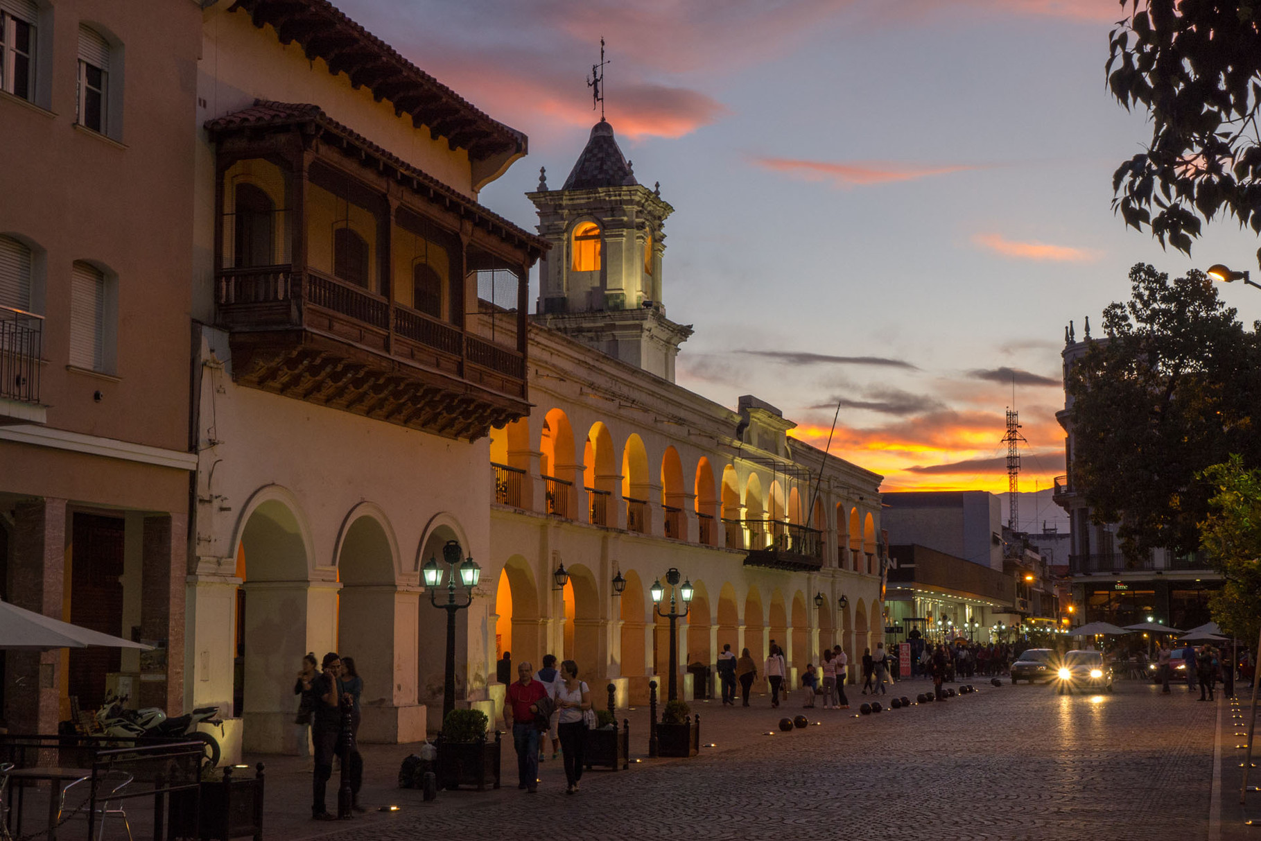 Historic museum, Salta, during dusk (blue hour), Argentina