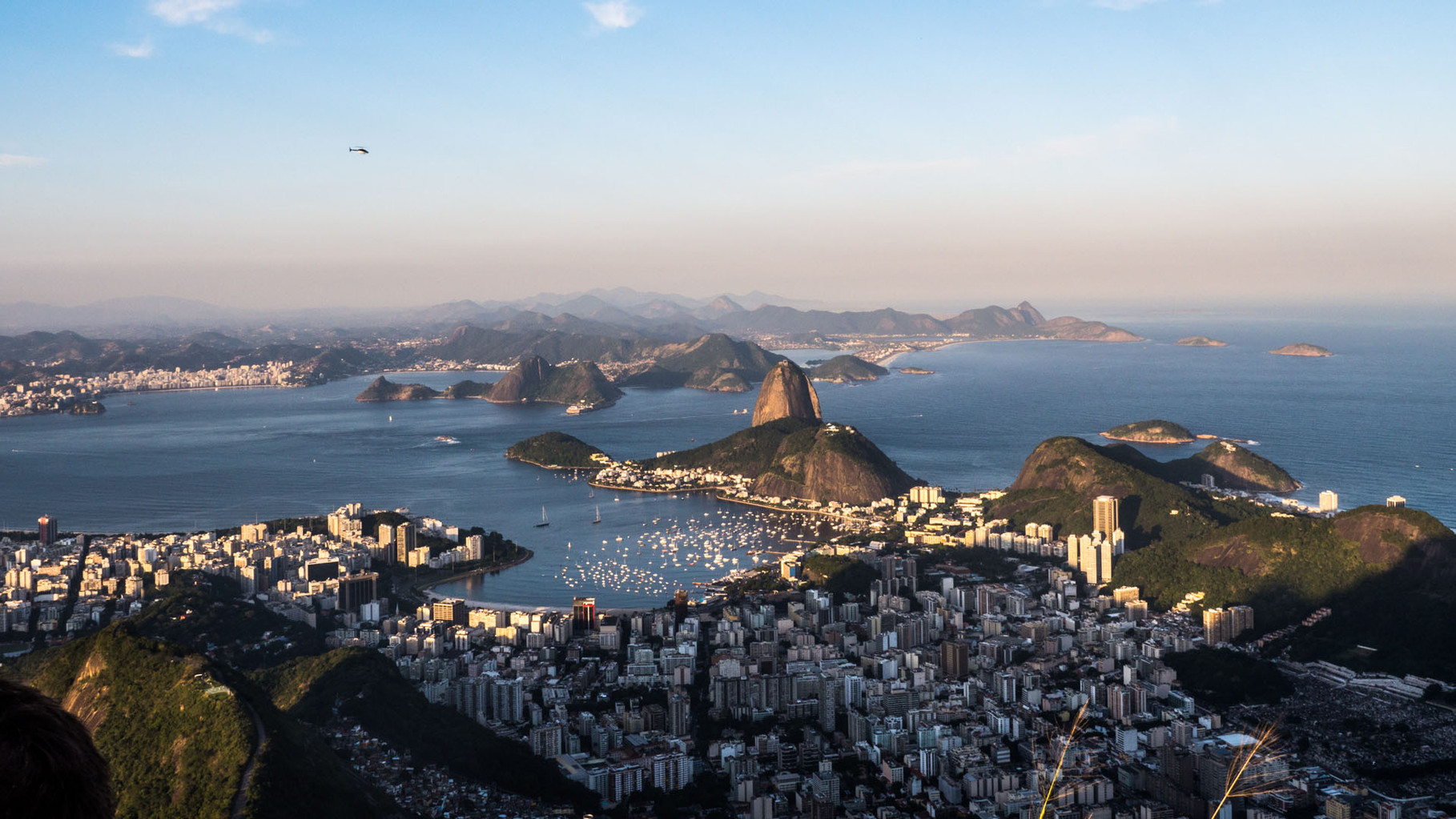 Rio (Sugarloaf in the center of the picture), panoramic view from Corcovado (Christ the Redeemer statue)