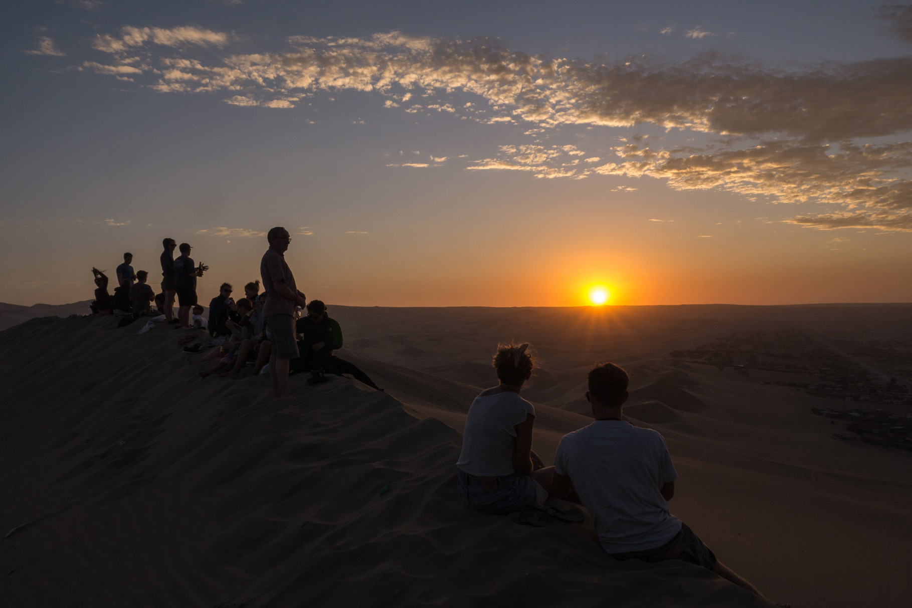 Sunset view from the top of the dune next to Huacachina