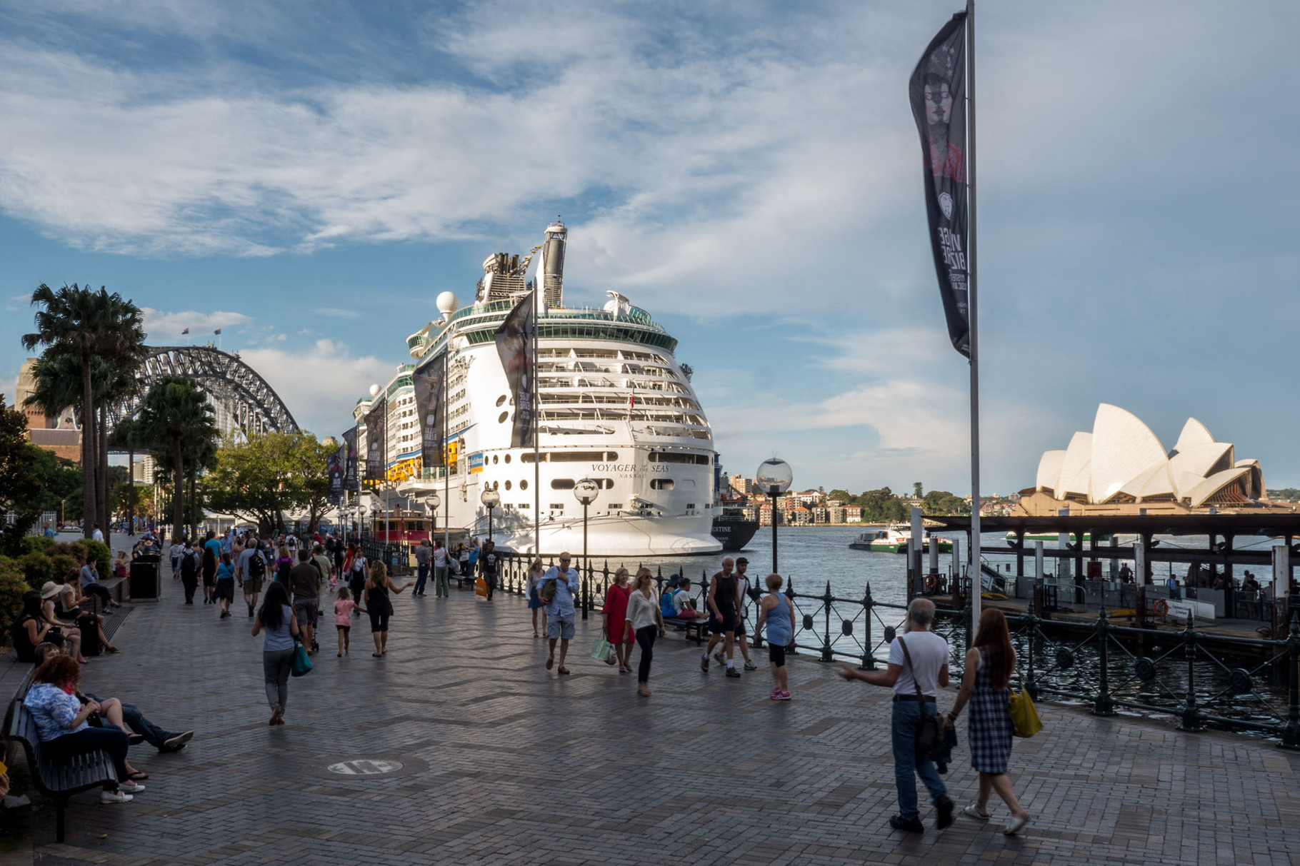 Harbour bridge, wharf and Opera house, Sydney