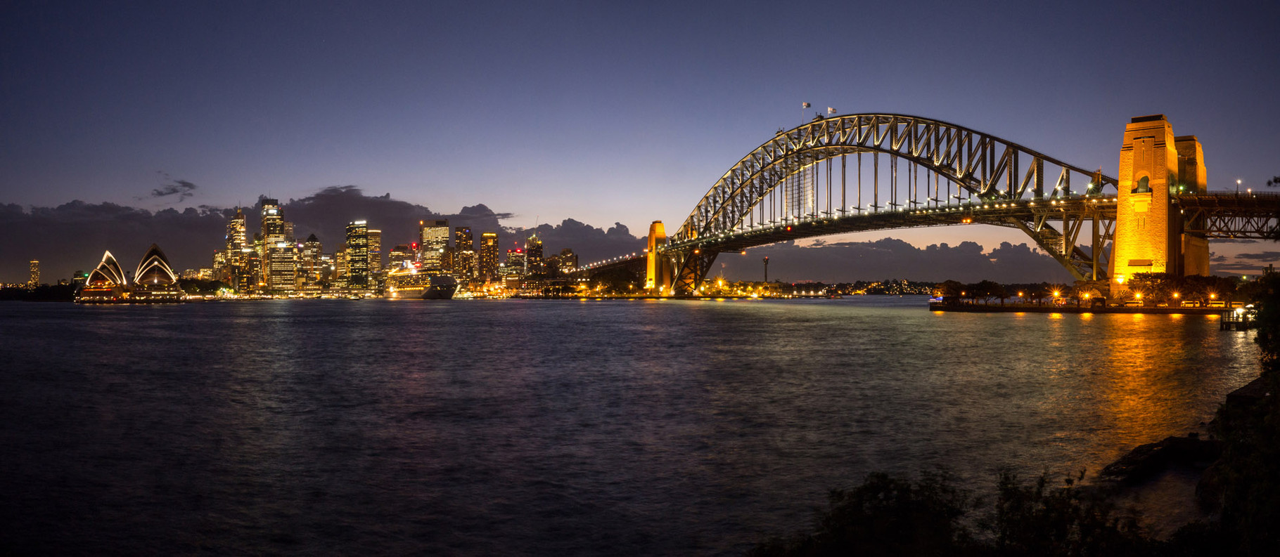Panorama of Harbour bridge at dusk, Sydney