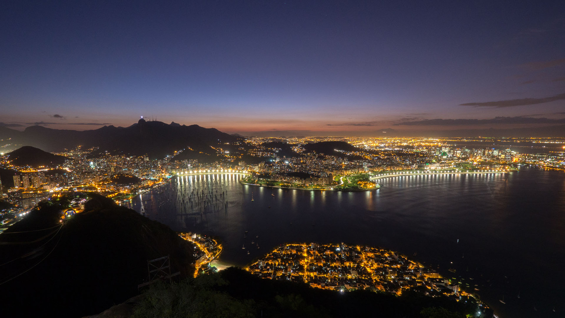 Rio by night, panoramic view from Sugarloaf
