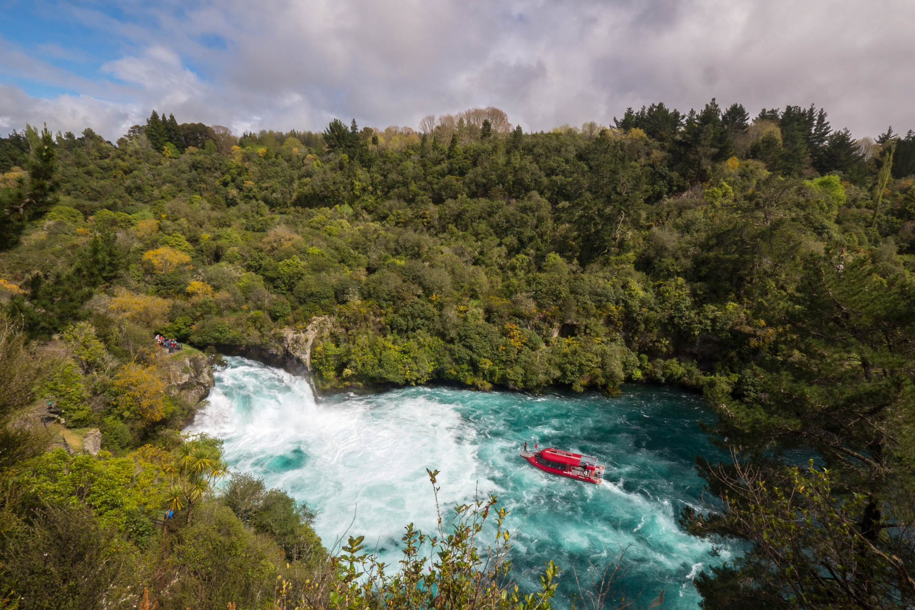 Huka Falls and river cruise boat, near Taupo
