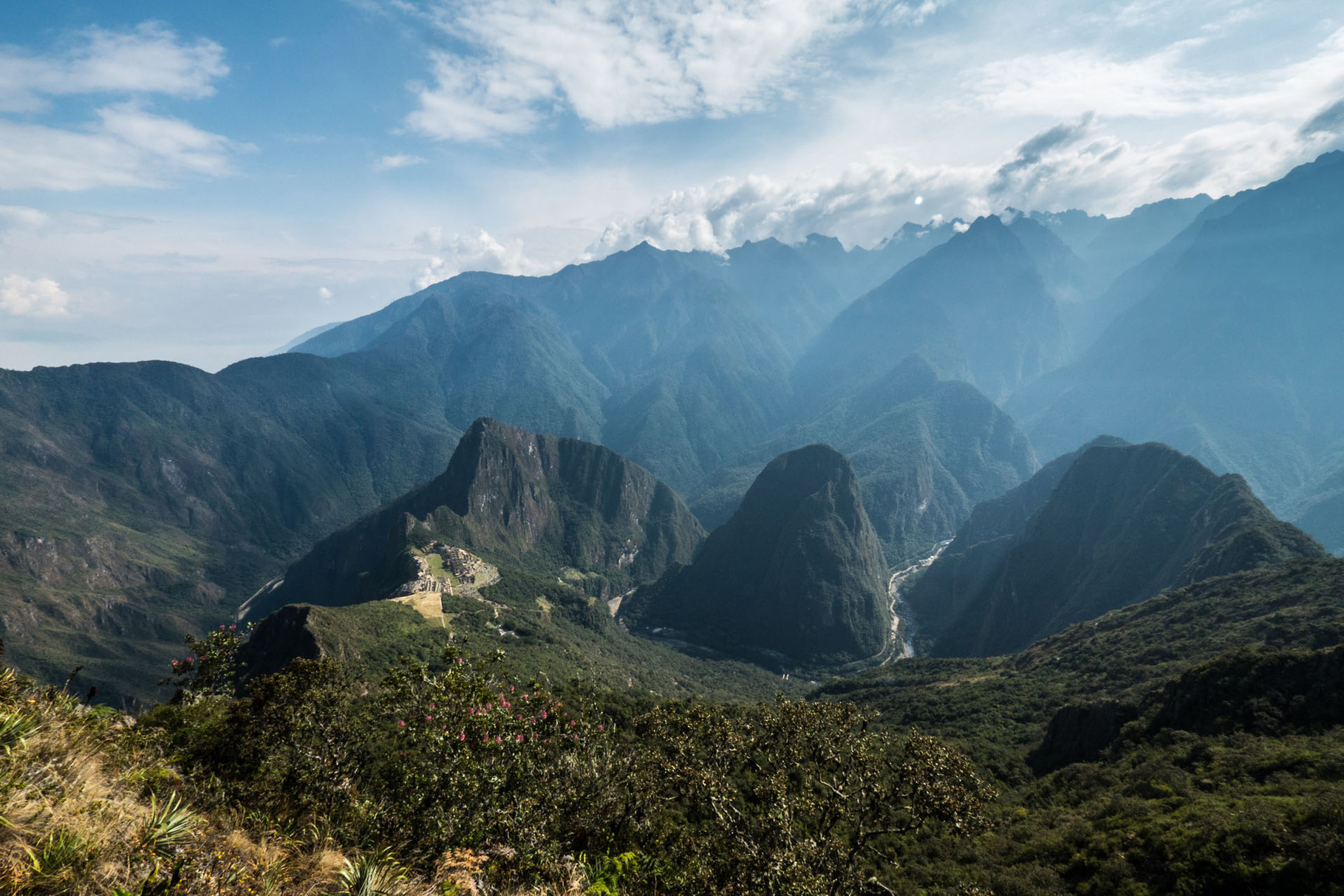 Machu Picchu (2400 masl), seen from Machu Picchu Mountain (3100 masl) [Peru, 2014]