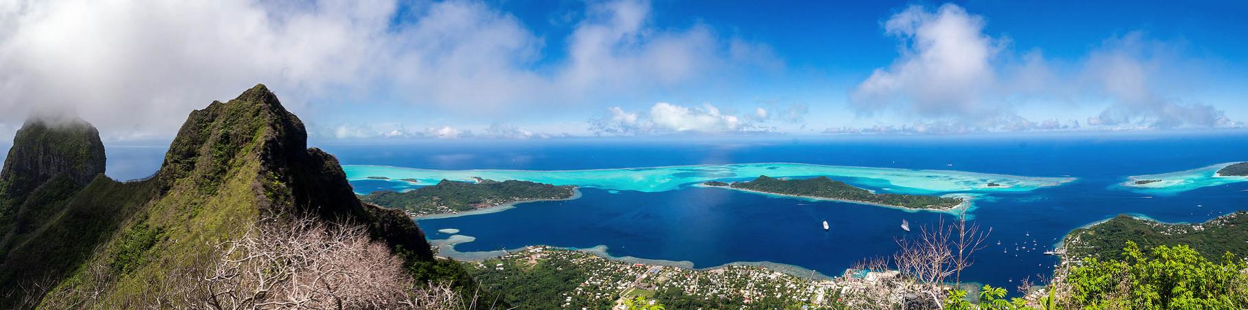 Panoramic view of Bora Bora from Mount Ohue (619masl)  [French Polynesia, 2014]