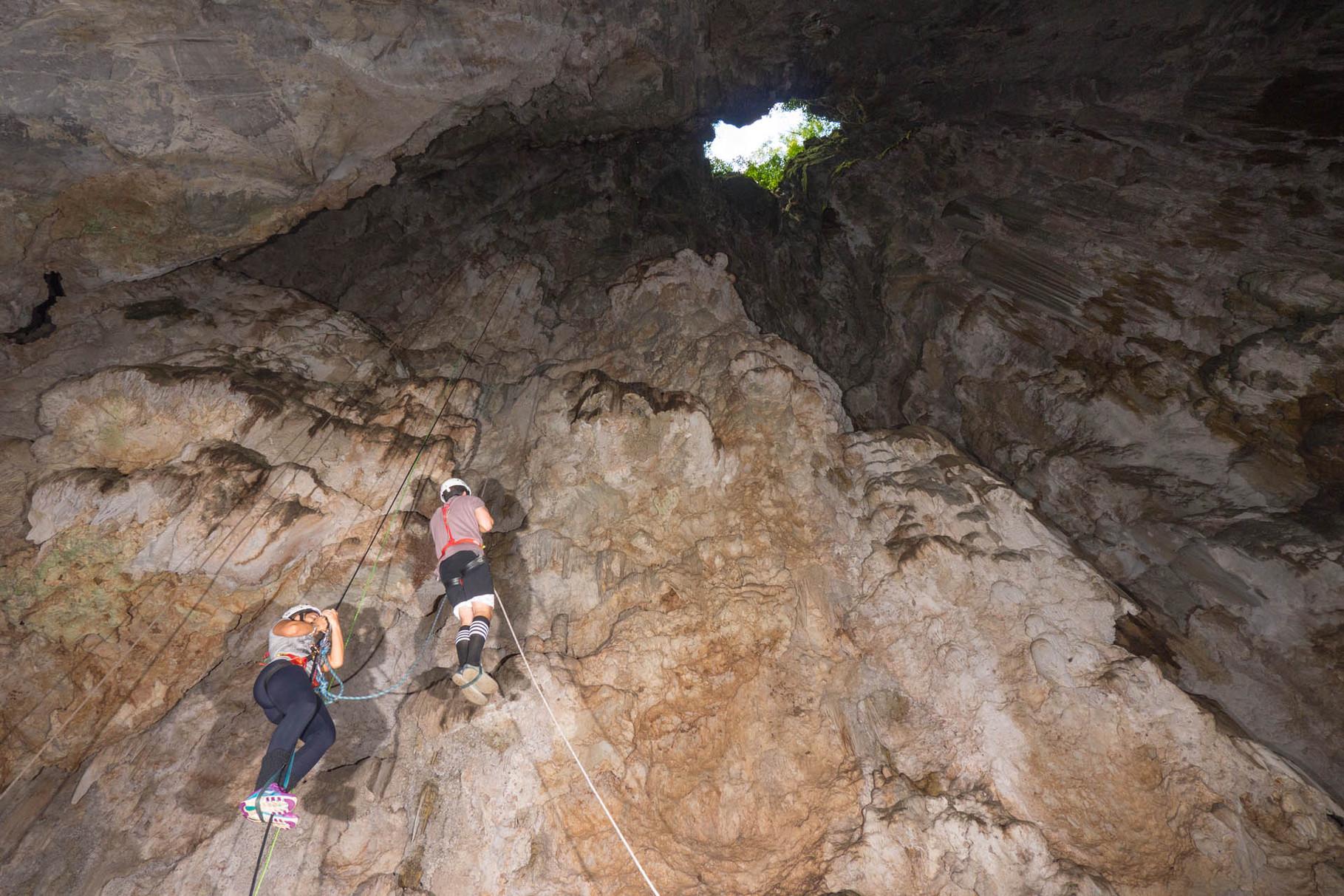 72m abseiling into Abismo Anhumas, Bonito