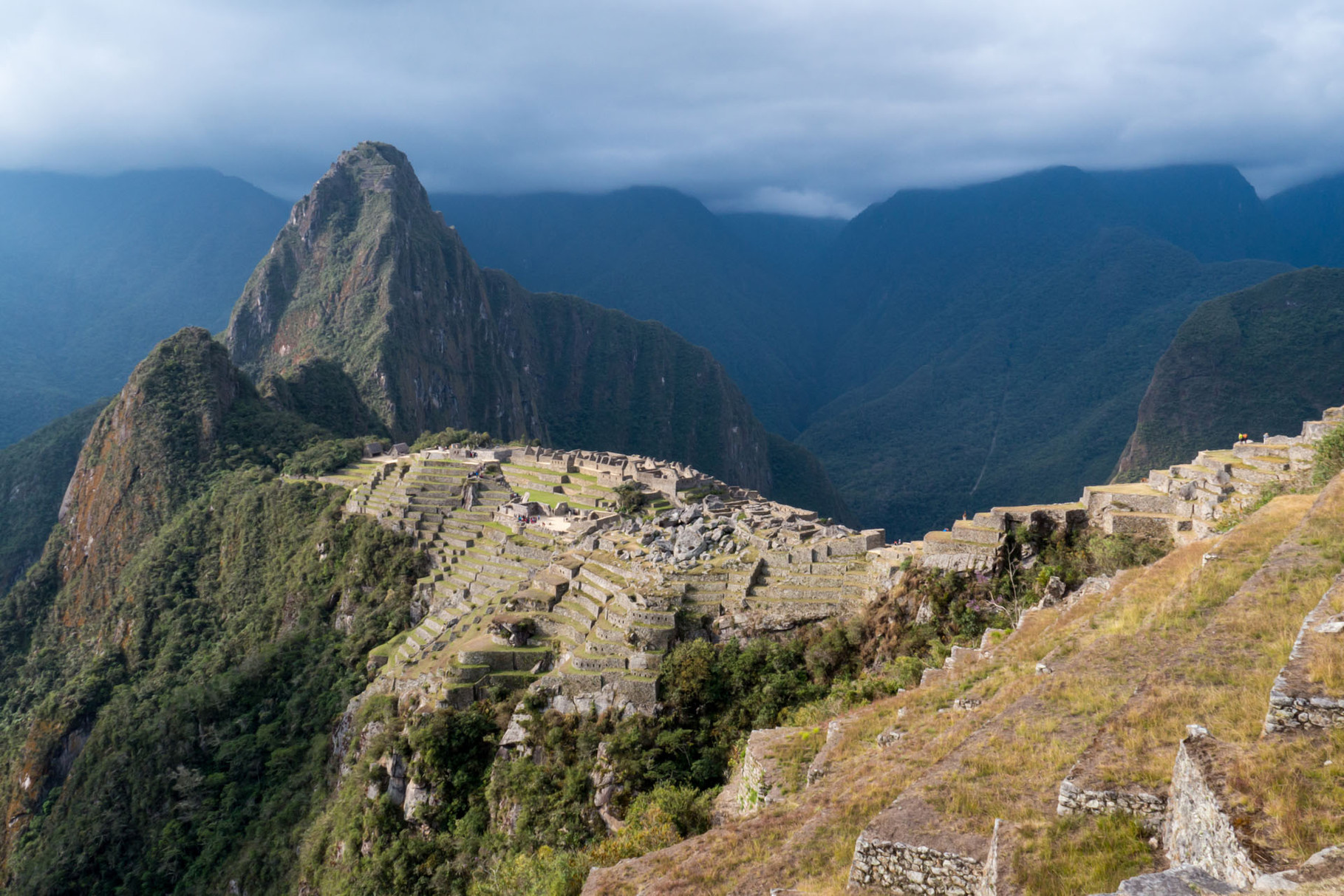 Machu Pichu and Wayna Picchu (2700 masl) in the background