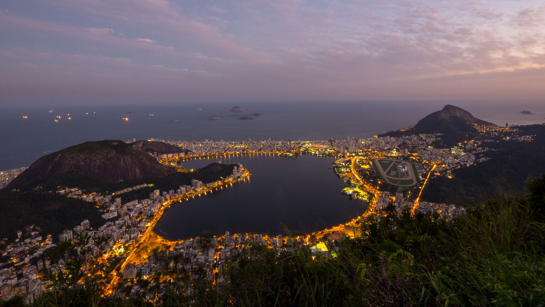 Rio by night, panoramic view from Corcovado