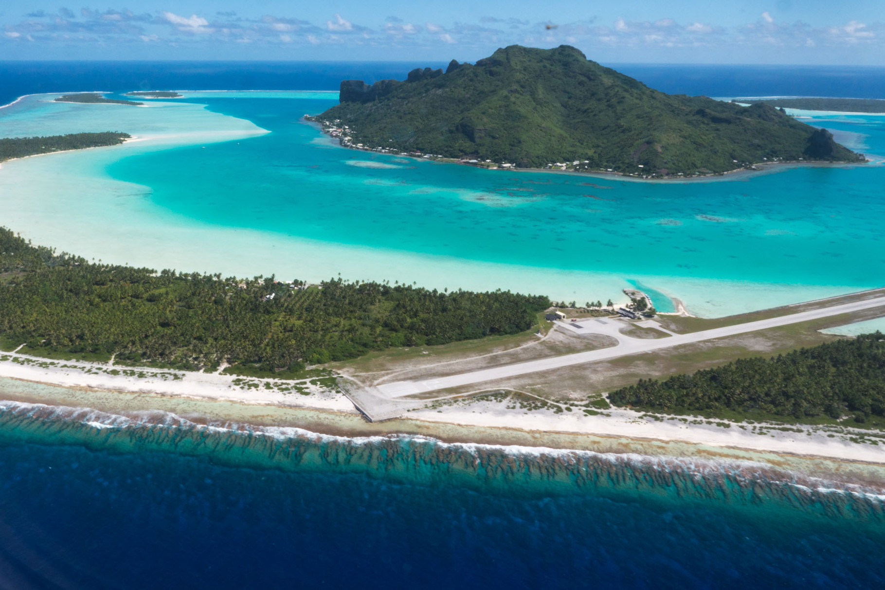Maupiti and airport on Motu (small surrounding island)