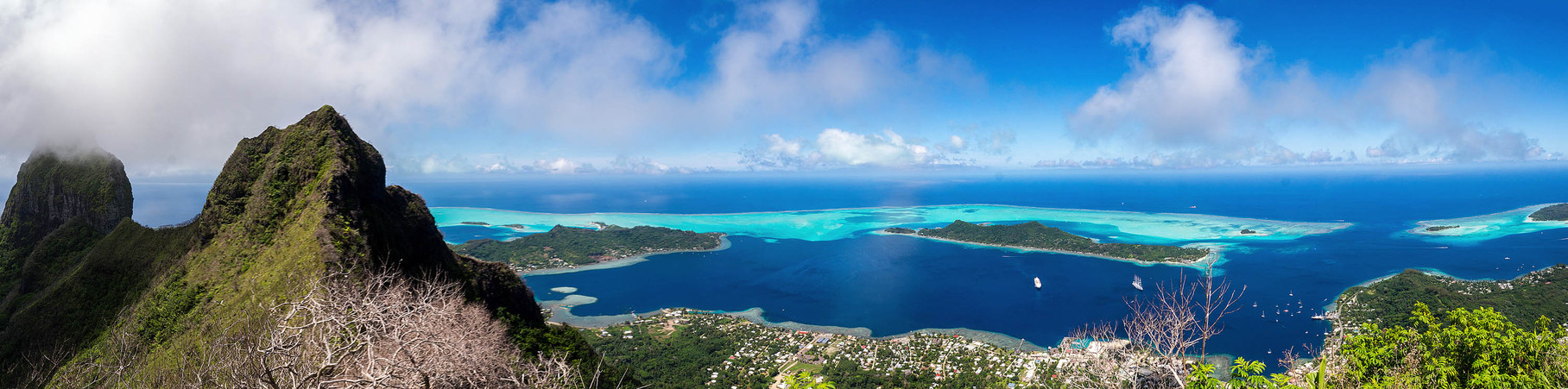 Panoramic view of Bora Bora from Mount Ohue (619masl)