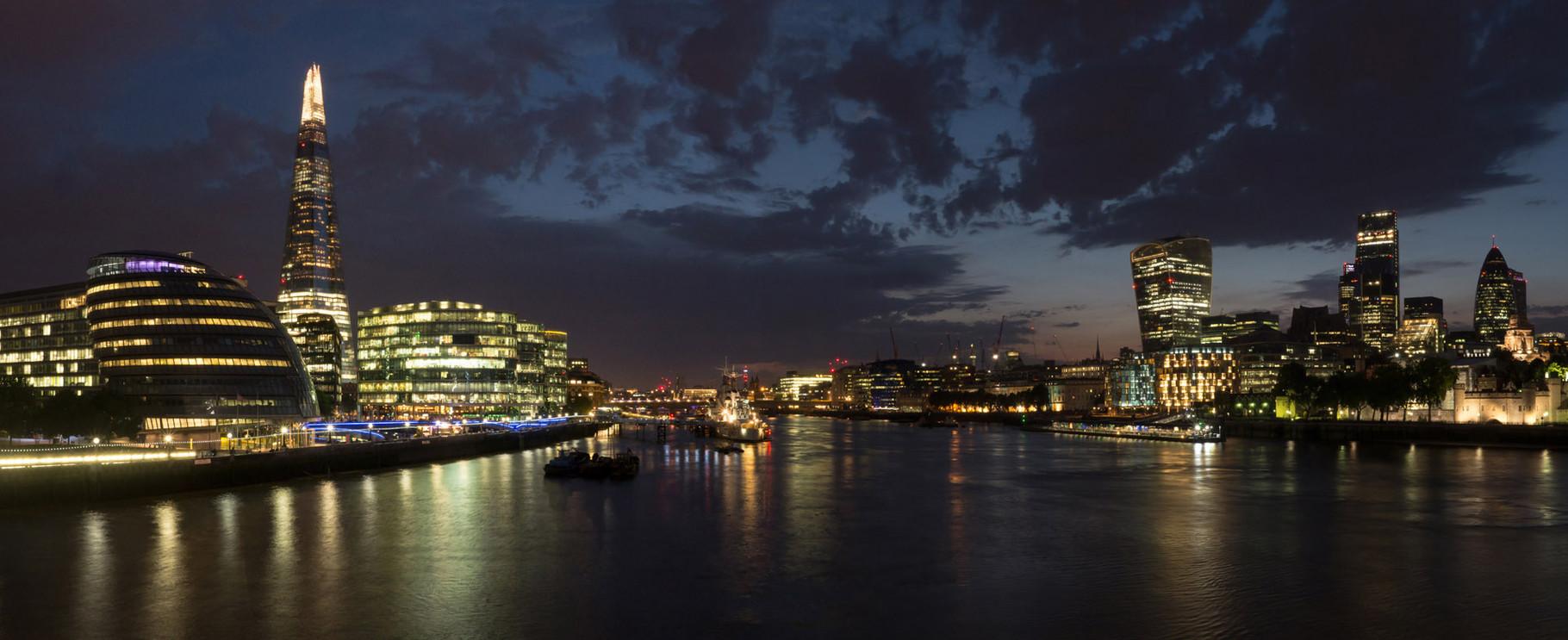 Panoramic view from Tower bridge, London