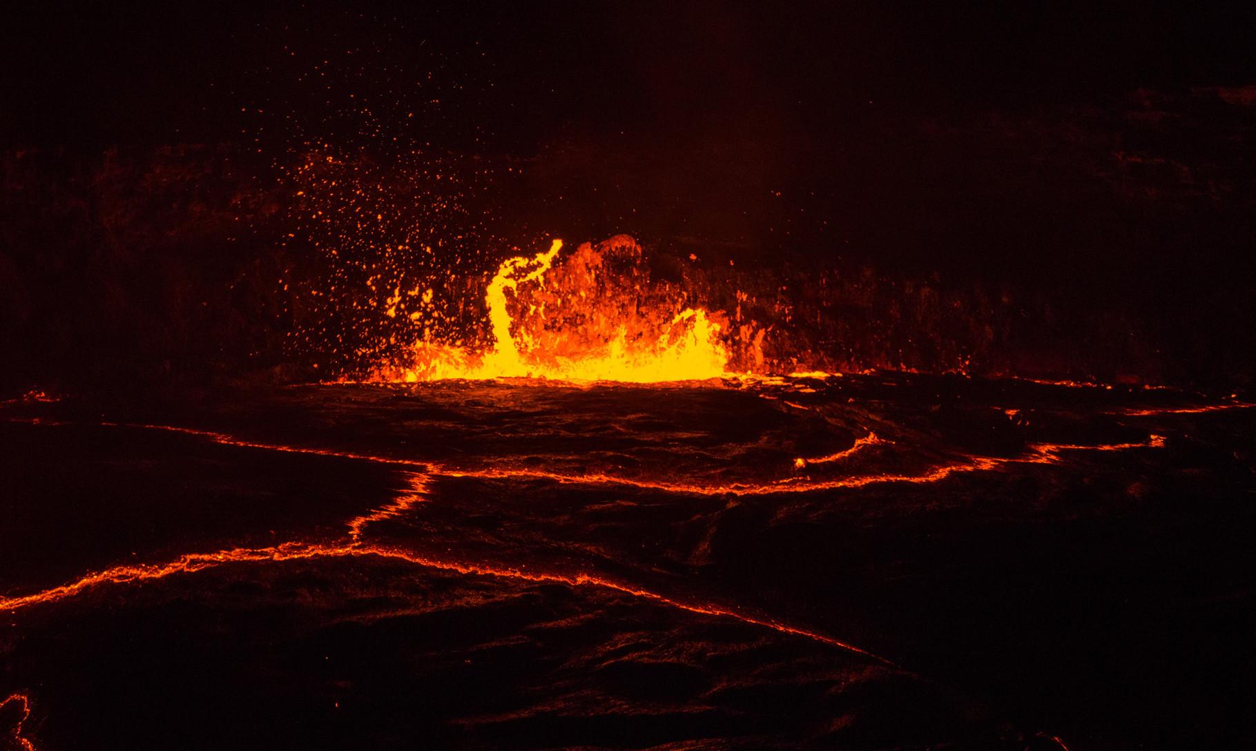 Active volcano lake